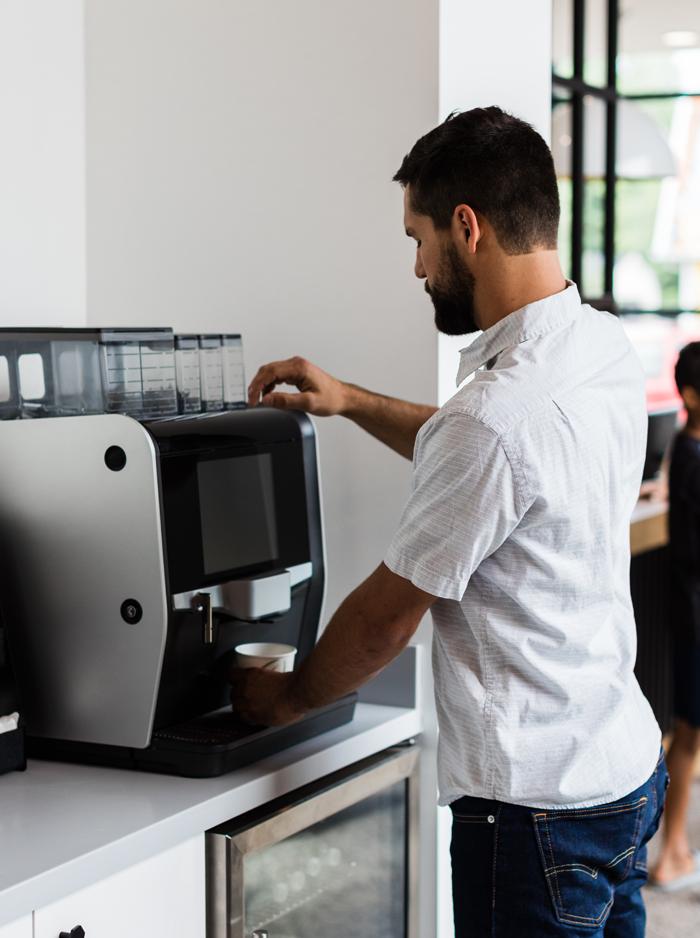 Man making coffee