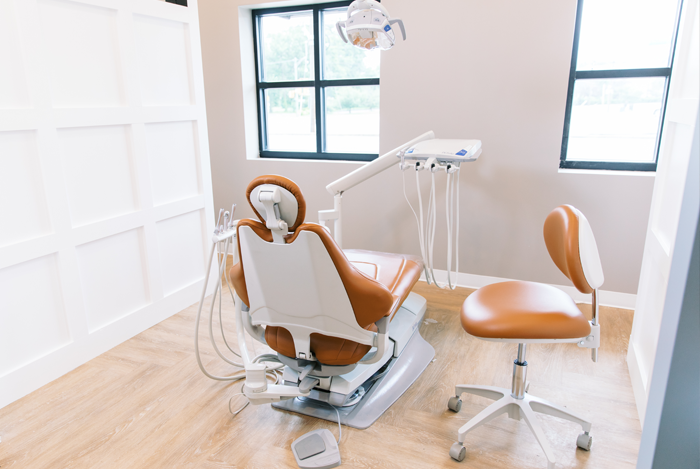 Wide-angle view of orthodontic chair